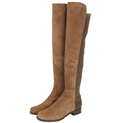 Stuart Weitzman 5050 麂皮拼接過膝長靴(棕色)