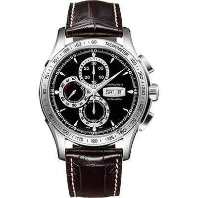 Hamilton漢米爾頓 JAZZMASTER LORD 計時機械錶-黑x咖啡/46mm