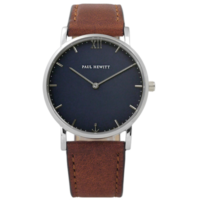 PAUL HEWITT Sailor Line 北方德國簡約牛皮手錶-深藍x咖啡/36mm