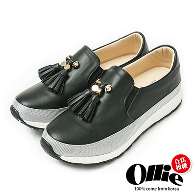 Ollie韓國空運-正韓製金屬流蘇懶人增高鞋-黑
