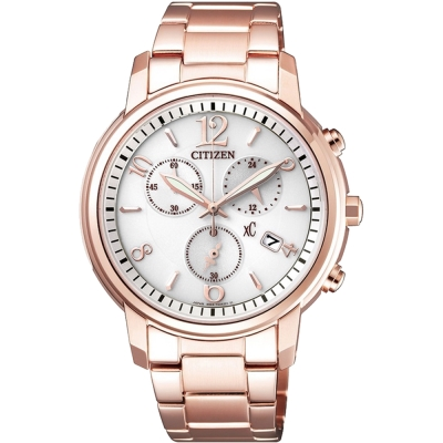 CITIZEN星辰 亞洲限定版光動能計時女錶(FB1432-55A)-玫瑰金/37mm