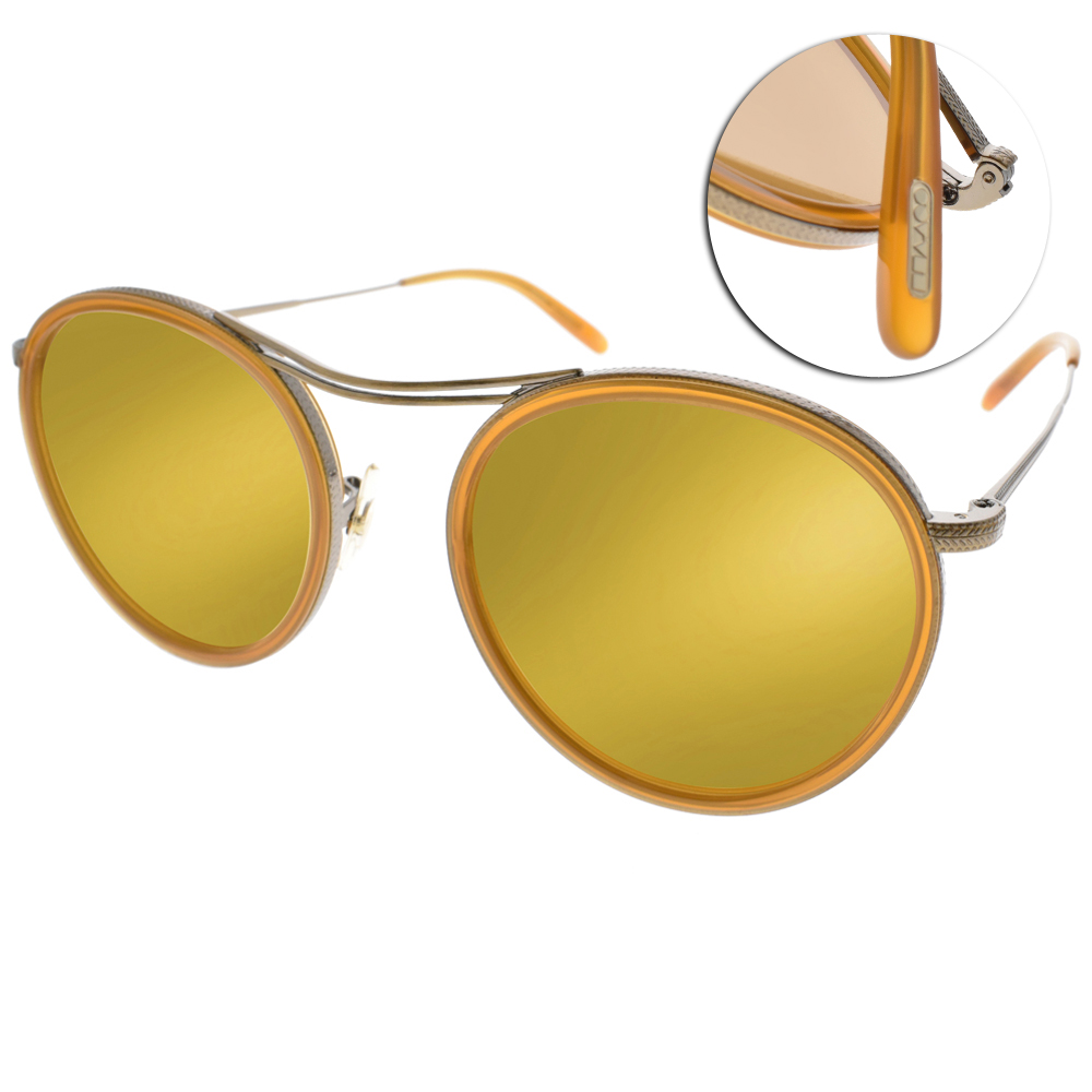 OLIVER PEOPLES太陽眼鏡 歐美圓框款/銅-黃水銀#MP-3 5039W4