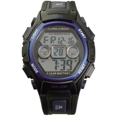 FEMA 個性城市 計時鬧鈴 數位休閒錶(P251G)-黑藍/34mm