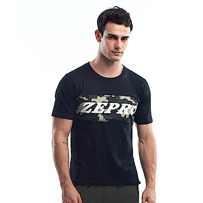 【ZEPRO】男子迷彩硬派休閒棉T-活性黑