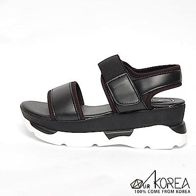 AIRKOREA-韓國空運運動感造型寬帶魔鬼氈厚底