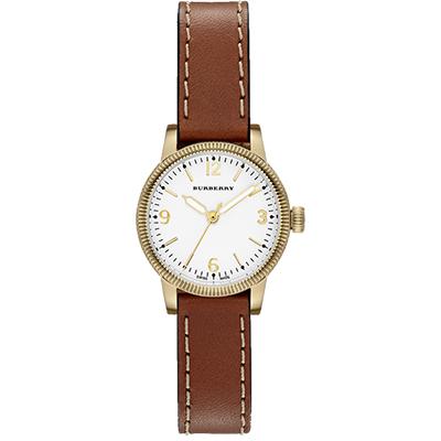 BURBERRY Utilitarian 系列時尚腕錶-銀白x金框/30mm