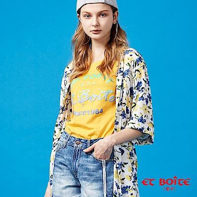 ETBOITE 箱子 BLUE WAY 寬袖開衩收腰長版罩衫-米白花卉