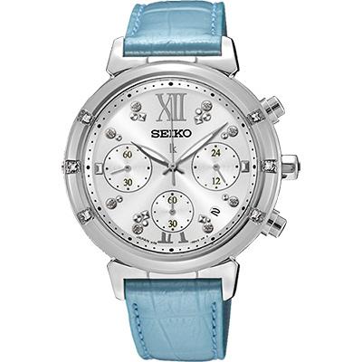 SEIKO LUKIA 限量璀璨太陽能計時碼錶(SSC856J1)-銀x藍/36mm