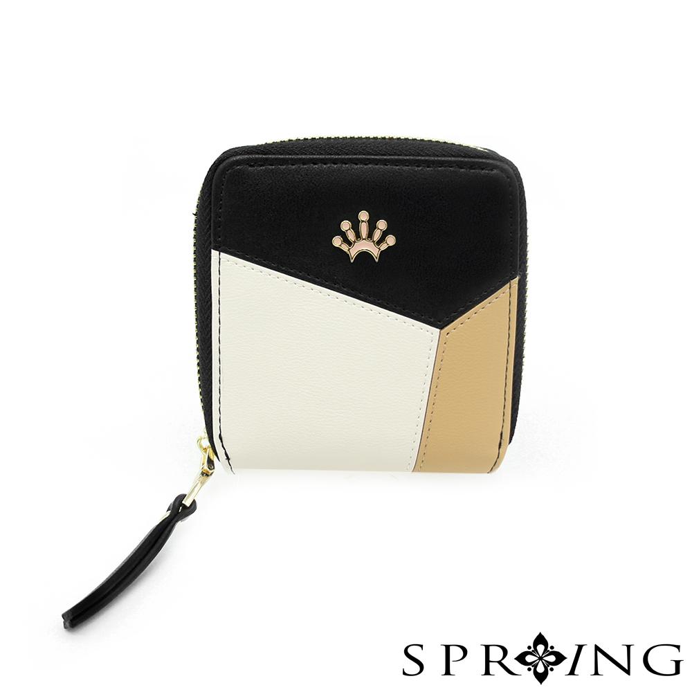 SPRING-真皮雙色幾何短夾-名媛黑