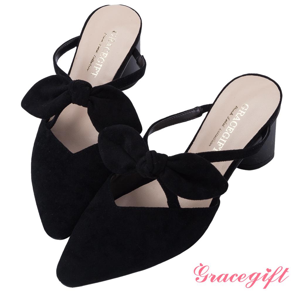 Grace gift-蝴蝶結尖頭漆跟穆勒鞋 黑