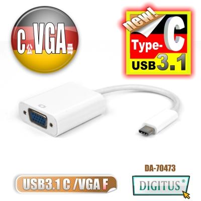 曜兆DIGITUS USB <b>3</b>.<b>1</b> Type-C 轉 VGA 高畫質影像轉接線(公對母)