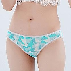 內褲 性感迷彩100%蠶絲低腰三角內褲 (藍綠) Chlansilk 闕蘭絹