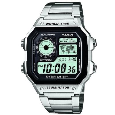 CASIO 世界地圖十年電力不鏽鋼數位錶(AE-1200WD-1A)/42mm