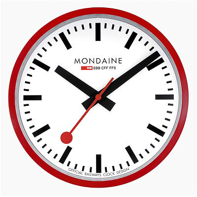 MONDAINE 瑞士國鐵25公分經典掛鐘-紅框