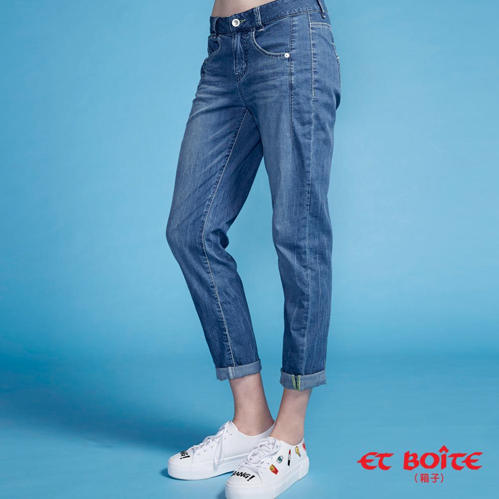 ETBOITE 箱子 BLUE WAY 冰絲骨感男友褲-深藍