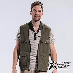 PolarStar 男 休閒多口袋背心 釣魚背心『綠卡其』P18109