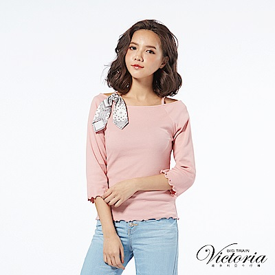 Victoria 絲巾變化羅紋布七分袖T-女-霧粉