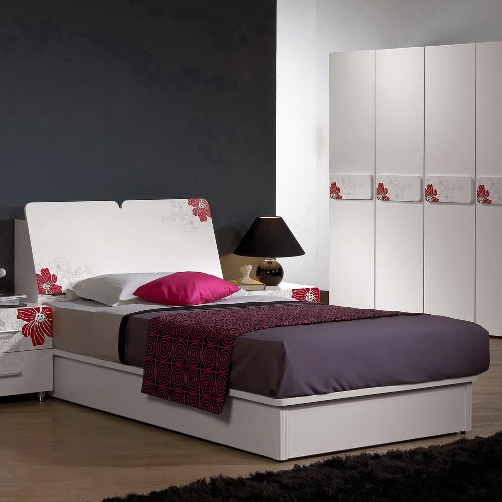 時尚屋 卡貝拉3.5尺床箱式印花加大單人床 (只含床頭-床底-不含床墊、床頭櫃)