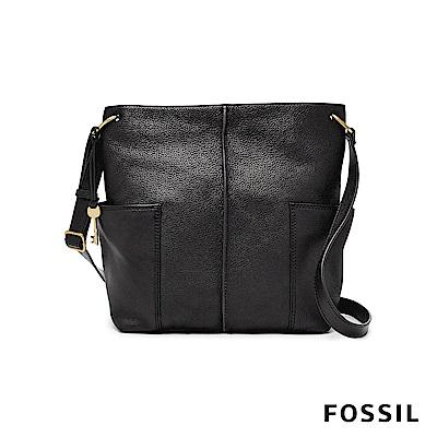 FOSSIL LANE 真皮大容量肩背包-黑色