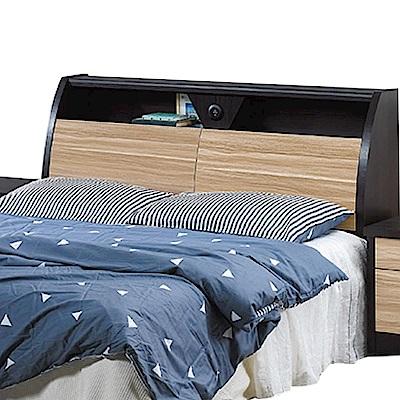 品家居 多妮絲6尺木紋雙色雙人加大床頭箱-182x30x100cm免組