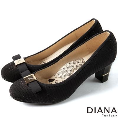DIANA-超厚切LADY款-銀線針織線條跟鞋-黑
