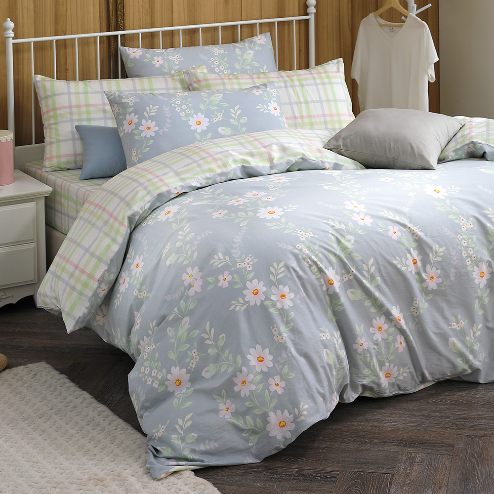 MONTAGUT 維克的早晨-100%純棉兩用被床包組(加大)+贈1被1毯