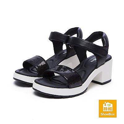 達芙妮DAPHNE ShoeBox系列 涼鞋-亮片一字帶魔鬼氈高跟涼鞋-黑