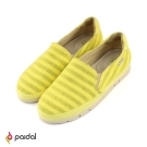 Paidal 繽紛橫條紋休閒鞋樂福鞋-黃
