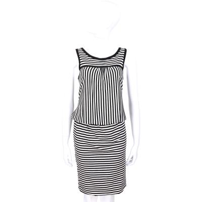 MARELLA 黑白色條紋露背設計無袖洋裝