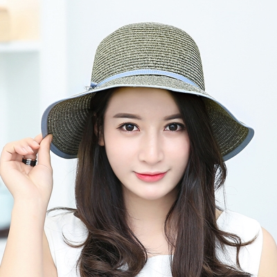 幸福揚邑 日韓防紫外線可折疊大檐帽綁帶棉紗防曬遮陽帽-灰藍