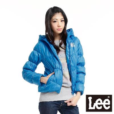 Lee-輕量連帽長袖拉鍊防風外套-女款-亮藍