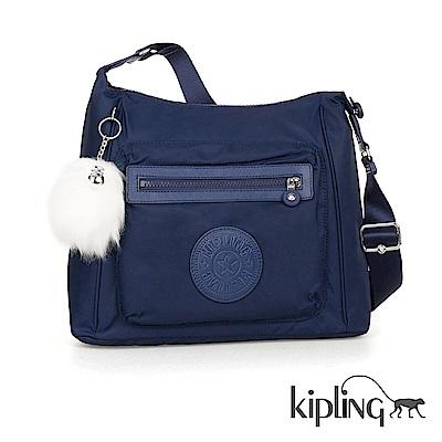 Kipling 斜背包 太空藍素面-中