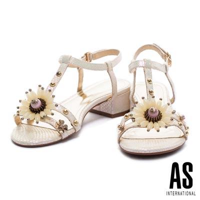 涼鞋 AS 華麗花飾鉚釘點綴T字蛇皮壓紋低跟涼鞋-白