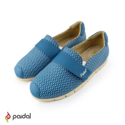Paidal可愛點點百搭輕運動休閒鞋樂福鞋-海洋藍