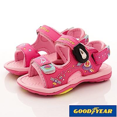 GOODYEAR戶外童鞋 磁扣運動涼鞋 EI8082粉(中大童段)