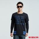 BOBSON  男款長版型假兩件印圖拼接潮T-黑色