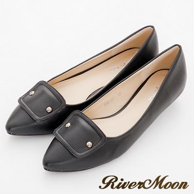River-Moon尖頭鞋-法式風格金屬飾扣低跟鞋-黑系