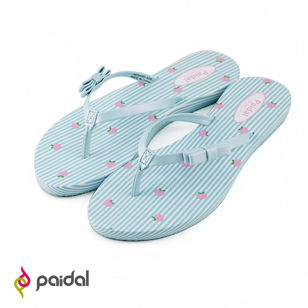Paidal條紋淺藍蝴蝶結耳帶夾腳拖鞋-桃子