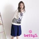 betty's貝蒂思 剪裁修身及膝寬褲(藍色)