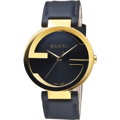 GUCCI 古馳 Interlocking 元素女錶~黑x金框x黑 37mm