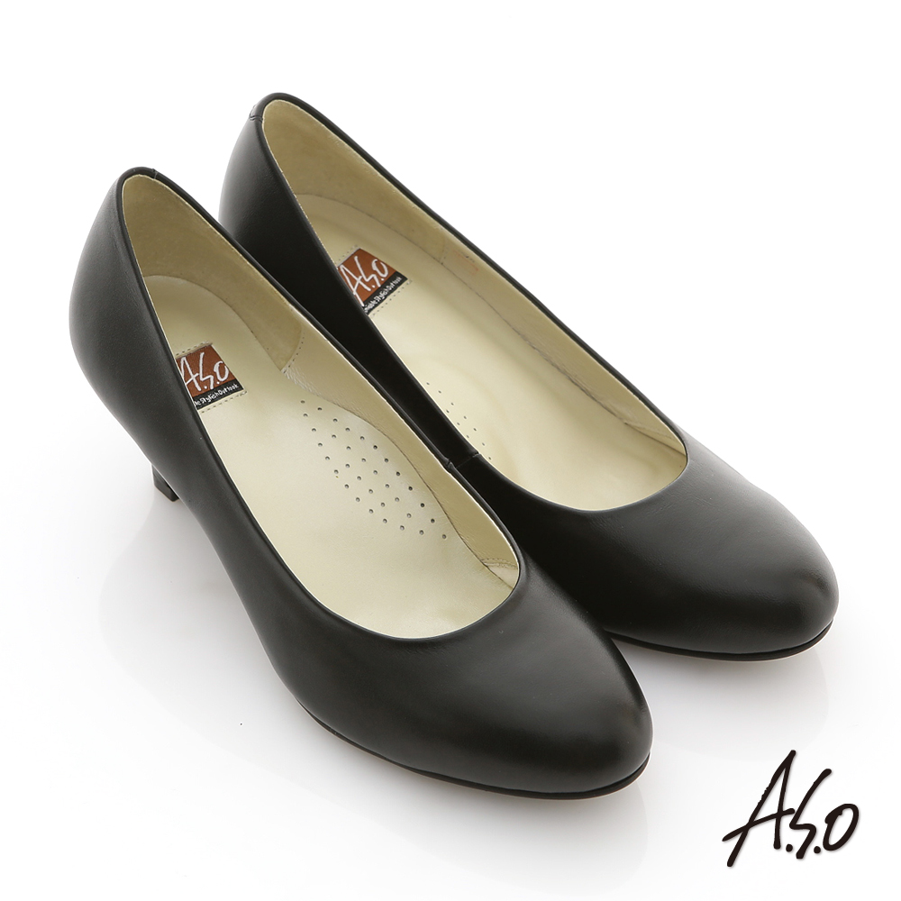 A.S.O 通勤系列 全真皮素色窩心高跟鞋 黑