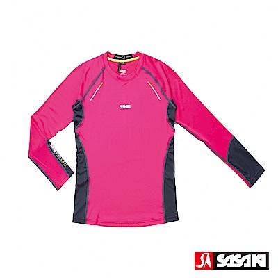 SASAKI 高彈力機能性運動緊身圓領長衫-女-桃紅/中灰/艷黃