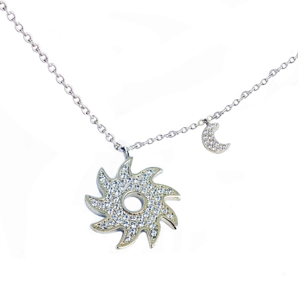 Crislu 太陽,小月亮銀色項鍊