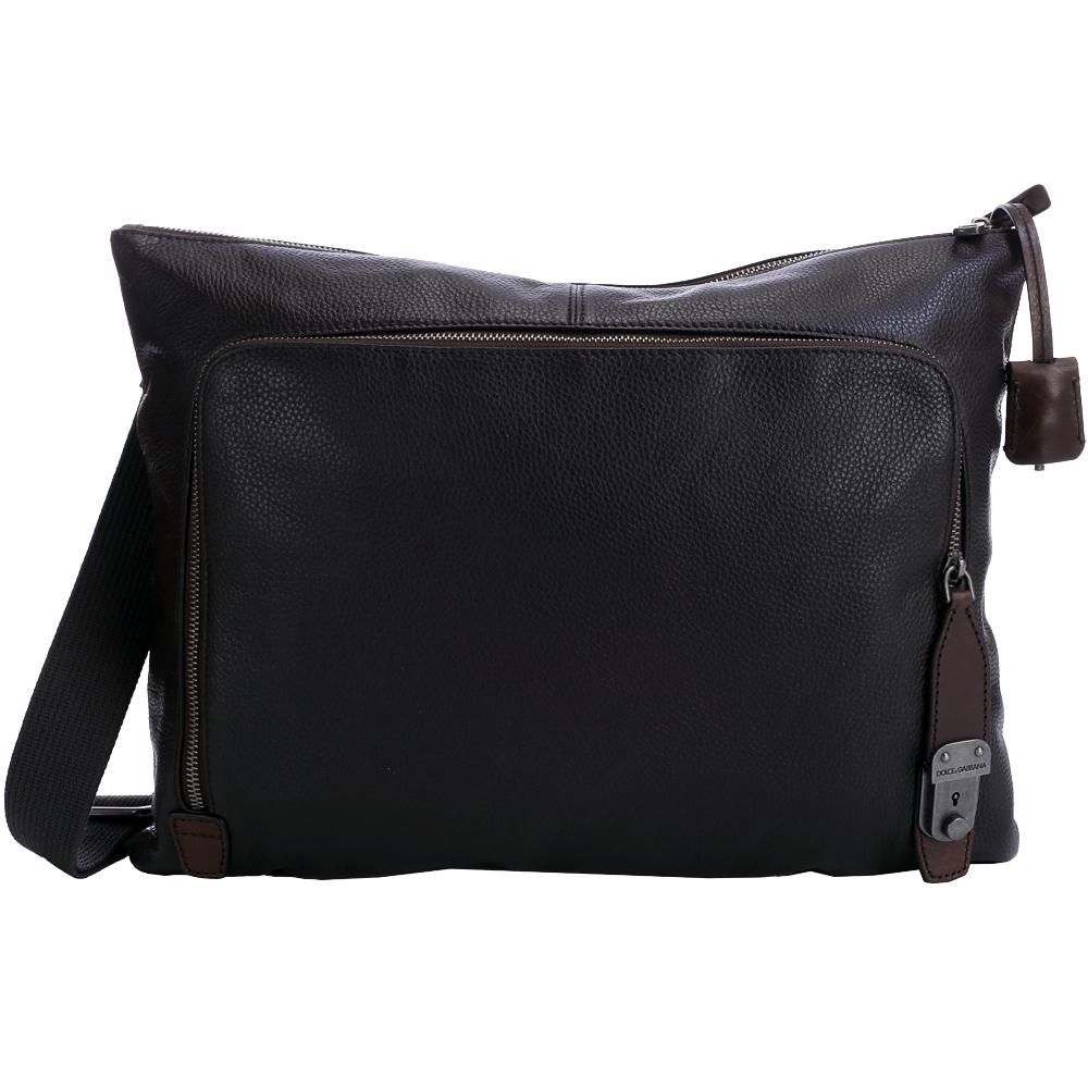 DOLCE & GABBANA 前袋設計牛皮斜背包(深咖啡色)