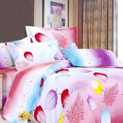 美夢元素 天鵝絨-兩用被套床包組-雙人加大 (傾妍花開)