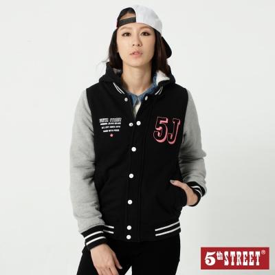5th STREET 拼色棒球連帽外套-女-黑色