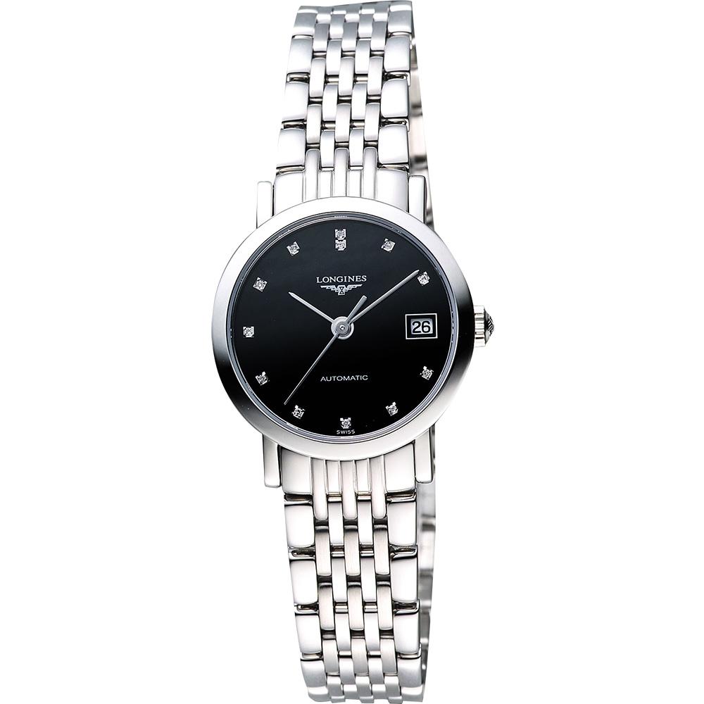 LONGINES Elegant Collection 真鑽機械女錶-黑/25mm L43094576