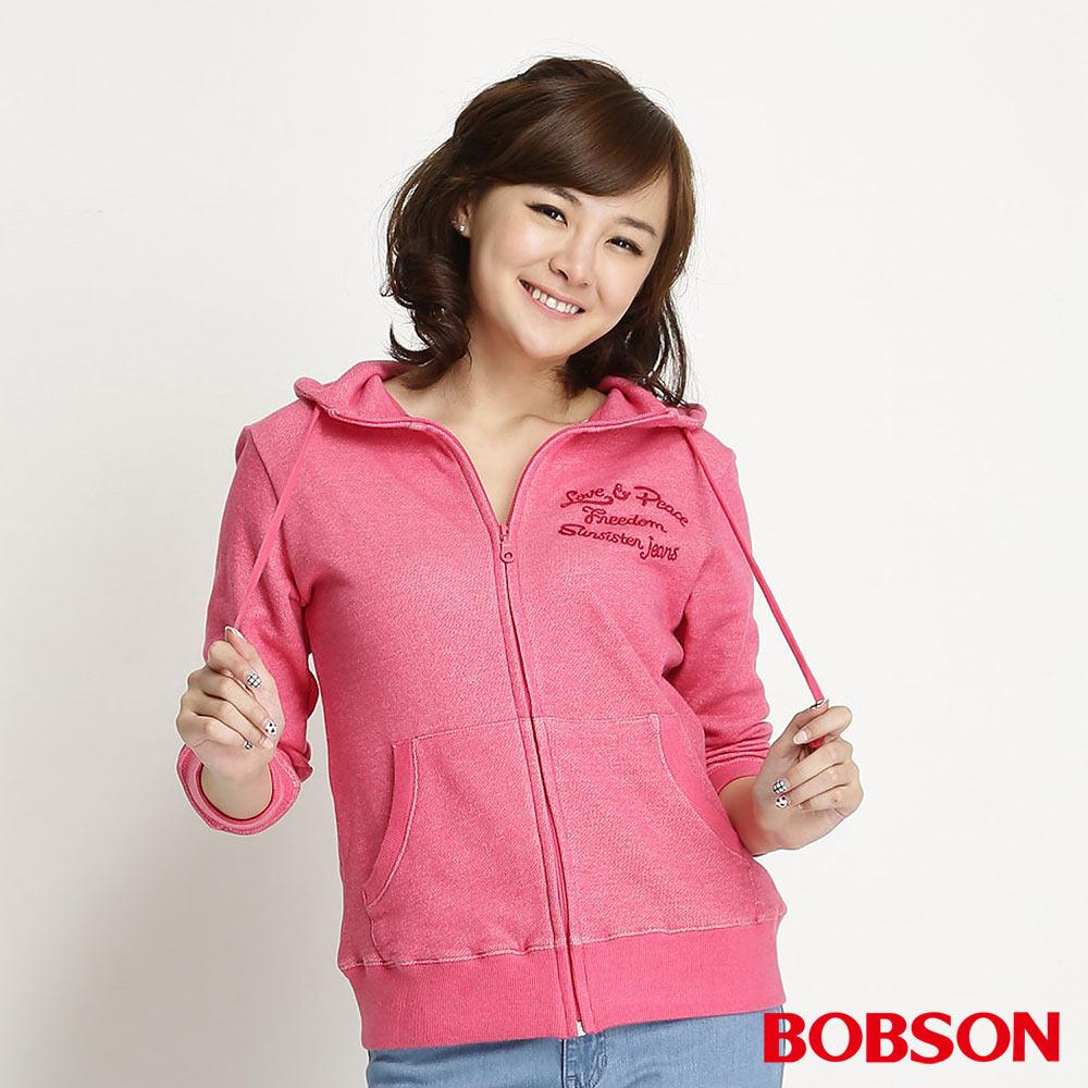 BOBSON 女款刺繡連帽針織布外套(桃紅15)