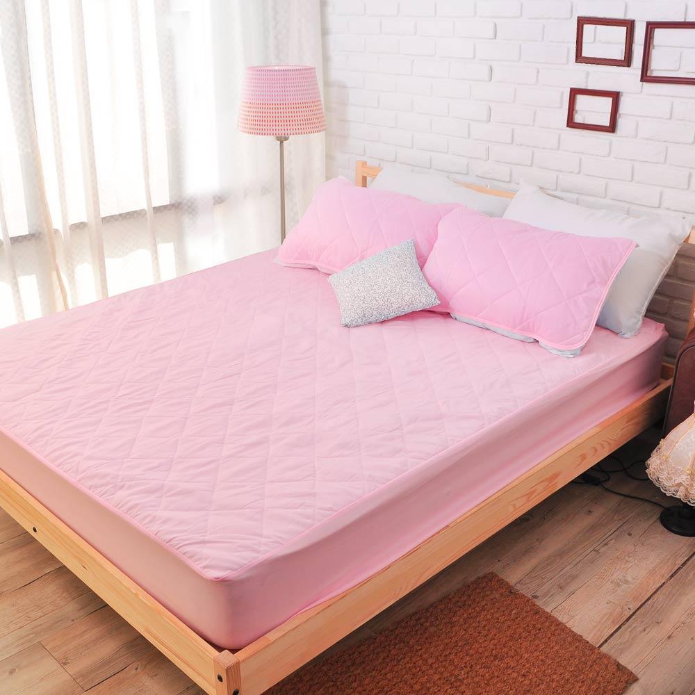 亞曼達Amanda 果漾色系100%防水床包式保潔墊-單人(粉紅色)