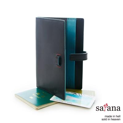 satana - 真皮護照套 - 黑色